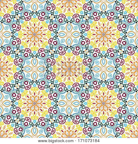 Floral Seamless Pattern. Colorful weave stylized flower background. Blue yellow pink flourish ornament vector. Intricate luxury decoration. Furniture fabric print, wallpaper. Interior design element.