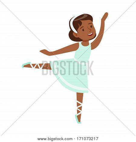 Little Girl In Blue Dress Dancing Ballet In Classic Dance Class, Future Professional Ballerina Dancer. Small Happy Kid And Adorable Stage Performance Vector Illustration.
