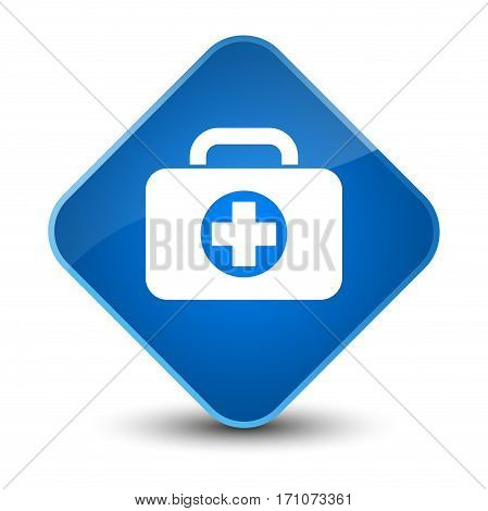 First Aid Kit Bag Icon Special Blue Diamond Button