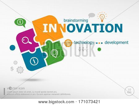 Innovation Business Concept Word Cloud On Colorful Jigsaw Puzzle.