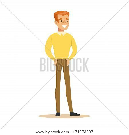 Redhead Guy In Yellow Sweater Overwhelmed With Happiness And Joyfully Ecstatic, Happy Smiling Cartoon Character. Person Excited And Blissful With Positive Emotions Vector Illustration.