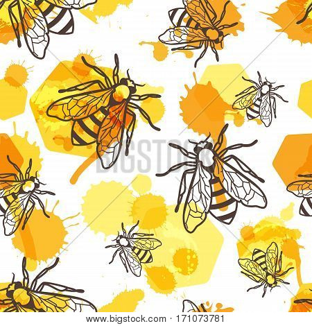 Vector Seamless Pattern With Linear Bee, Liquid Honey And Watercolor Honeycombs.