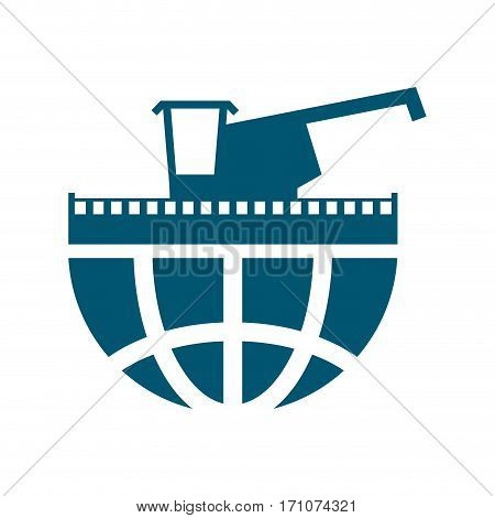 Combine Harvester Logo. Sign Farm. Machine For Harvesting Grain Crops