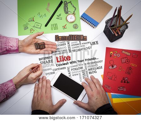 Like Share Social Media News Feed Concept. The meeting at the white office table.