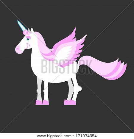 Unicorn Isolated. Mythical Horse With Horns And Wings. Fantasy Beast