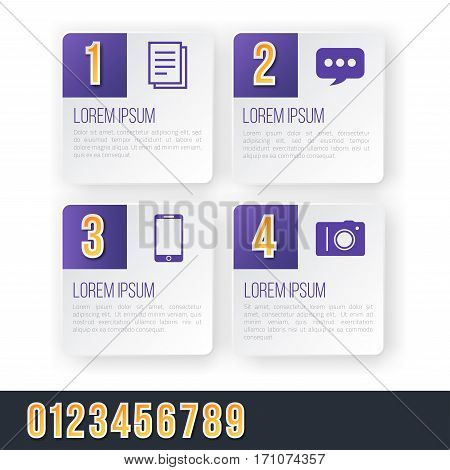 Violet Colored Bright Infographics Vector Numbers Set for Options. Template for brochure, business charts, web design and posters