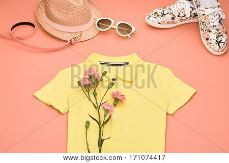 Summer Hipster style.Design Spring Fashion girl clothes setaccessories.Trendy sunglasses floral gumshoes.Summer hipster dressfashion hatspring flower.Summer Urban woman look.Perspective view