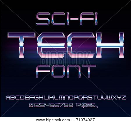 Sci-Fi 80's style techno retro alphabet movie font. Metal chrome effect letters and numbers. Vector typeface set