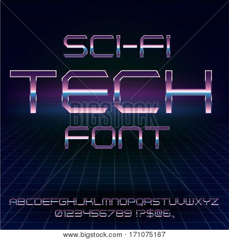 Futuristic Metal Techno Look Vector Font typeface set