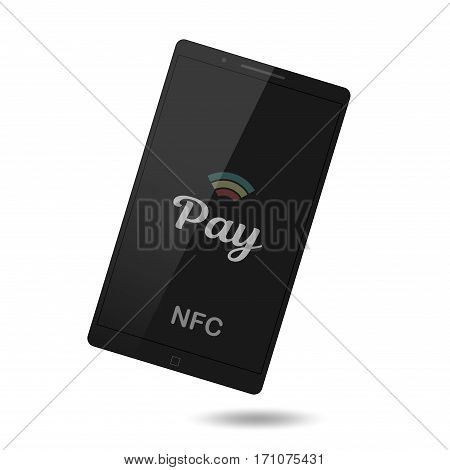Mobile payment trough POS. Nfc payment vector illustration. Making wireless transactions. Smart phone concept icon.