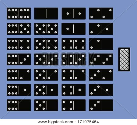 Full set for a game of dominoes. Interface top view. Vector illustration.