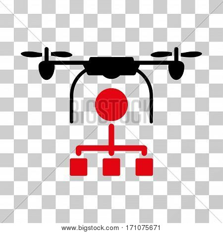 Drone Distribution icon. Vector illustration style is flat iconic bicolor symbol intensive red and black colors transparent background. Designed for web and software interfaces.