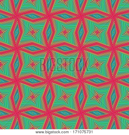Seamless Pattern With Rotating Colourful Shapes