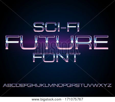 Sci-Fi Future Style Metal Techno Look Vector Font typeface set