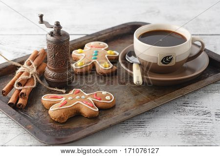 Shortbread Cookies On Old Tray With Coffee