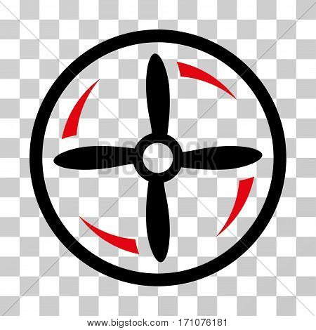Drone Screw Rotation icon. Vector illustration style is flat iconic bicolor symbol intensive red and black colors transparent background. Designed for web and software interfaces.