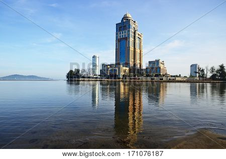 KOTA KINABALU SABAH MALAYSIA - FEBRUARY 12 2017: The new Sabah State Administrative Centre is a government office complex building located in Kota Kinabalu in the state of Sabah Malaysia.