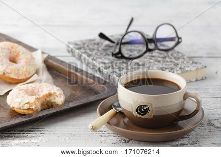 Fresh Homemade Pastry On Old Metal Tray With Coffee