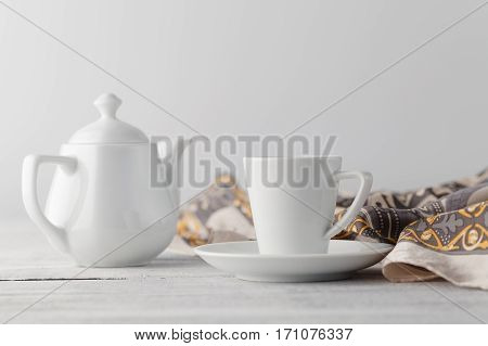Woman Breakfast On Table With Cup Of Tea