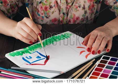 Estate Concept, Woman Draw House And Sun