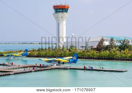 MALE MALDIVES - DECEMBER 07 2016: hydroplane at Male airport Maldives December 07 2016
