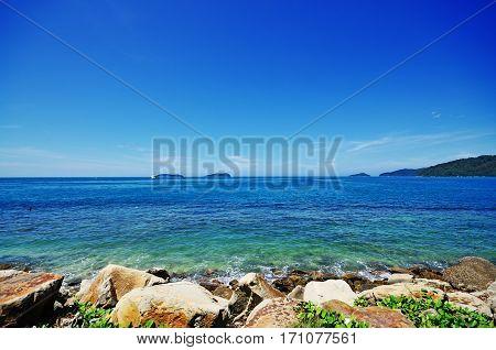 Scenery During Beautiful Sunny Day At The Beach In Kota Kinabalu, Sabah Borneo, Malaysia.