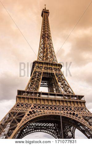 View at famous Tour Eiffel in Paris France