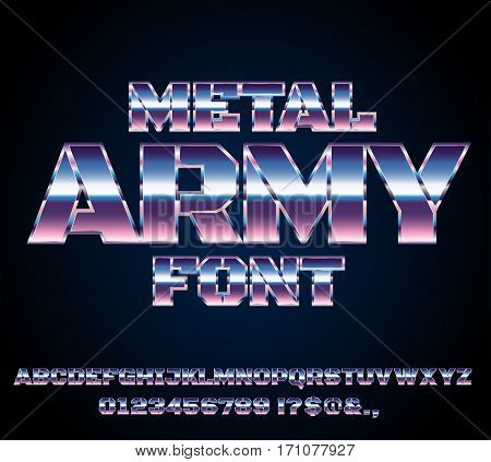 Retro Future Military Army Sci-Fi Movies Style Chrome Typeface in 80s Retro Futurism style. Vector font