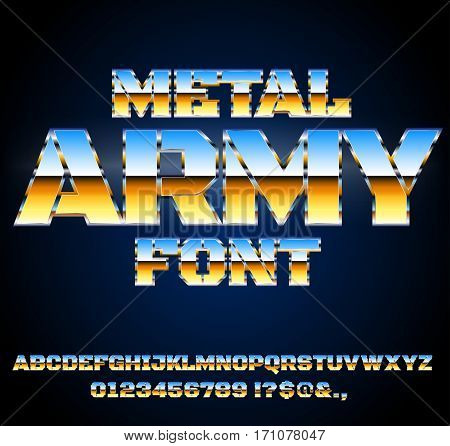 Future Style Sky blue Gold colored Military Army Sci-Fi Movies Style Chrome Typeface in 80s Retro Futurism style. Vector font