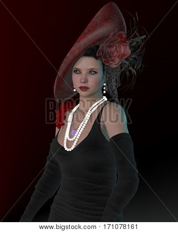 London Victorian Woman 3d illustration - During the Victorian Period the women of British culture wore fancy dresses gowns and large hats.