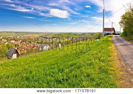 Town Of Ivanec Panorama From Green Hills