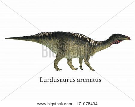 Lurdusaurus Dinosaur with Font 3d illustration - Lurdusaurus was a herbivorous ornithopod iguanodont dinosaur that lived in Niger in the Cretaceous Period.