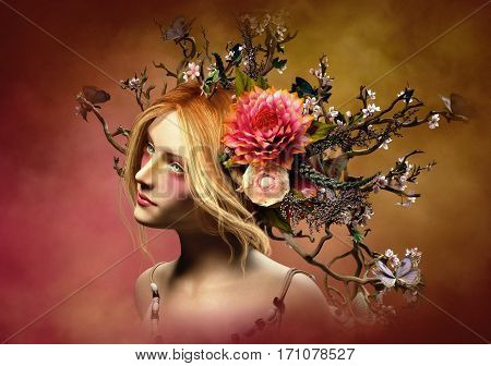 3d computer graphics of a portrait of a girl with nature headdress and makeup in fantasy style