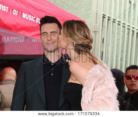 LOS ANGELES - FEB 10:  Adam Levine, Behati Prinsloo at the Adam Levine Hollywood Walk of Fame Star Ceremony at Musicians Institute on February 10, 2017 in Los Angeles, CA