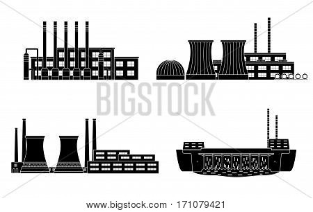 Set of energy station. Gas station nuclear power station hydro power. Vector illustration.