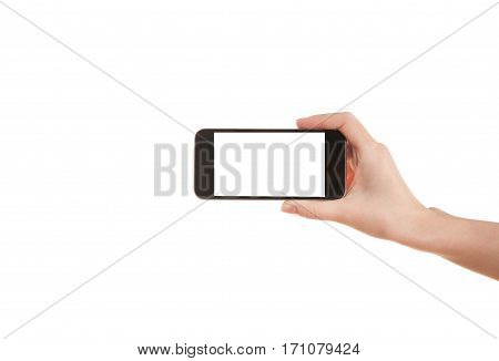 Hand girl holding a mobile phone on a white background