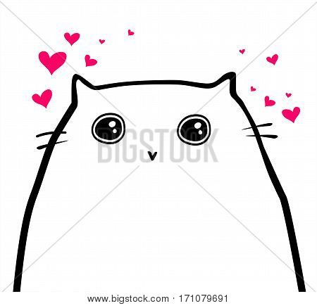 Funny happy cat in hand-draw style. Vector