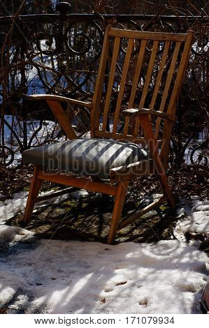 armchair broken retro outdoor furniture still life