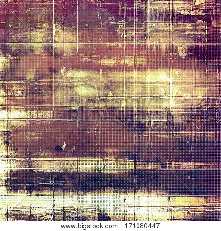 Colorful grunge texture or background with vintage style elements and different color patterns: yellow (beige); brown; gray; purple (violet); pink