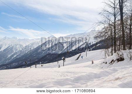 Sochi, Russia - 1 January, Winter mountain landscape, 1 January, 2017. Winter mountain ski resort Rosa Khutor.