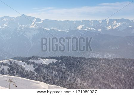 Mountain view on a sunny day. The complex mountain-ski runs and facilities in the village of Rosa Khutor.