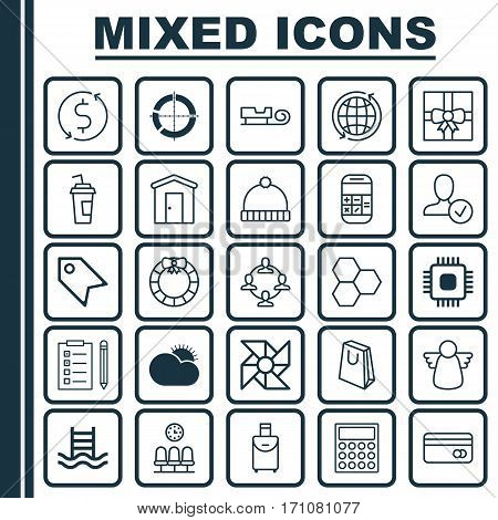 Set Of 25 Universal Editable Icons. Can Be Used For Web, Mobile And App Design. Includes Elements Such As Trip Handbag, Sled, Knitted Cap.