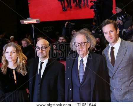 Armie Hammer, Geoffrey Rush, Clemence Poesy, Stanley Tucci attend the 'Final Portrait' premiere during the 67th Berlinale  Festival Berlin at Berlinale Palace on February 11, 2017 in Berlin, Germany.