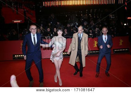 Jonny Lee Miller, Ewen Bremner, Anjela Nedyalkova, Danny Boyle attend the 'T2 Trainspotting' premiere during the 67th Berlinale Film Festival Berlin at Palace on February 10, 2017 in Berlin, Germany.