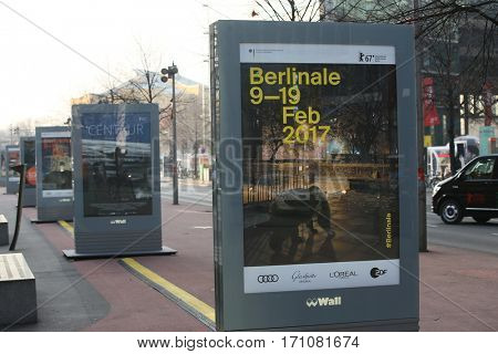 An advertisement screen of the Berlinale International Film Festival is seen at Potsdamer Platz close to the Berlinale Palace on February 9, 2017 in Berlin, Germany.
