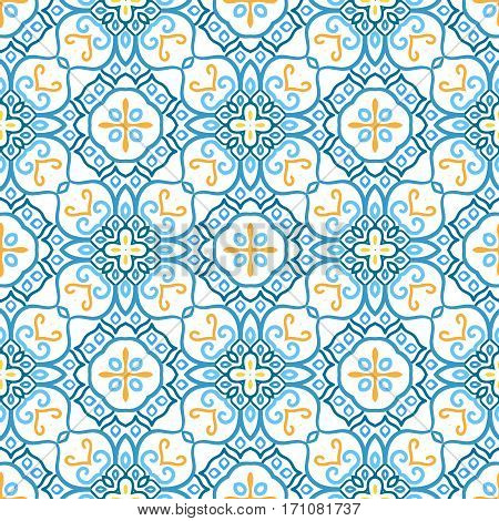 Blue background. Flower Seamless Pattern. Colorful weave stylized floral ornament vector. Yellow intricate luxury decoration. Flourish furniture fabric print, wallpaper. Interior design element.
