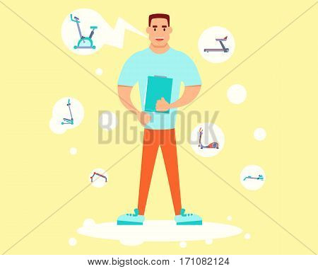 Personal trainer holding a training plan and tells about equipment. Flat design. Vector illustration