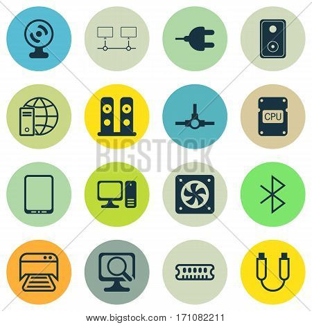 Set Of 16 Computer Hardware Icons. Includes Dynamic Memory, Cpu, Desktop Computer And Other Symbols. Beautiful Design Elements.