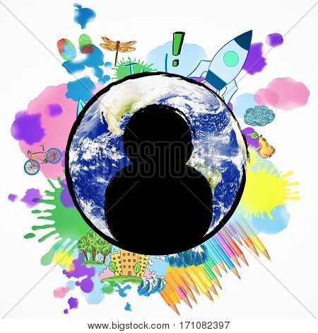 Abstract image of globe with human icons and colorful sketch. Creative staff concept.