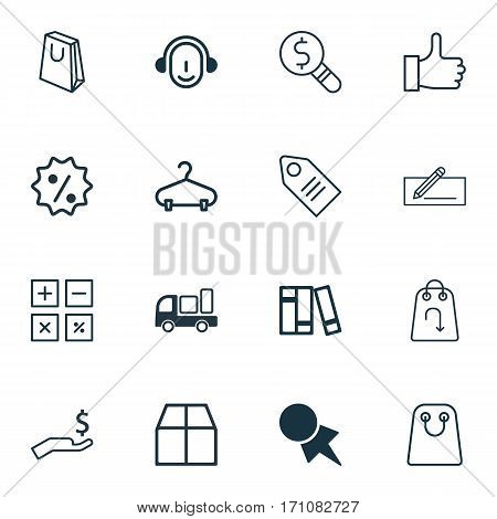 Set Of 16 Ecommerce Icons. Includes Tote Bag, Bookshelf, Employee And Other Symbols. Beautiful Design Elements.
